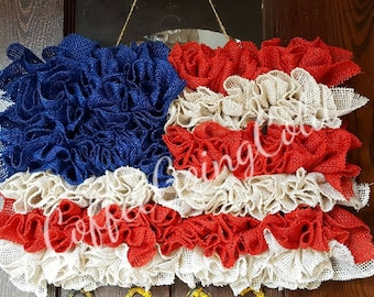 American Flag Wreath, American Flag, Flag Wreath, Patriotic Wreath, Fourth of July Wreath, 4th of July Wreat, Military Support, Burlap Flag