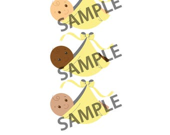 Baby Shower Decorations (5) Pack - Yellow - Gender Neutral - Gender Reveal - (5) GRAPHIC DOWNLOADS