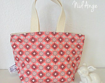 Pink fabric child bag / purse / Tote /mini tote bag girl pink flower girl / blue in STOCK