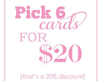 Pick ANY 6 - value pack - Assorted Letterpress Cards