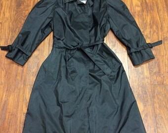 Vintage Retro 80s British Mist Black Long Raincoat Rain Jacket Belted Trench Coat 7/8 M/L Womens Medium / Large