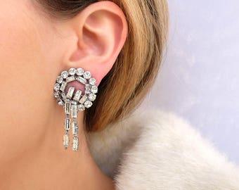 Vintage 1950s Earring | Vintage Earrings | Chandelier Earrings | Statement Earrings | 1950s Clip Earrings | Dangly Earrings | Large Earrings