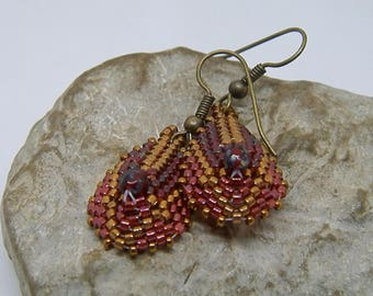 Burgundy and Tan weave earrings