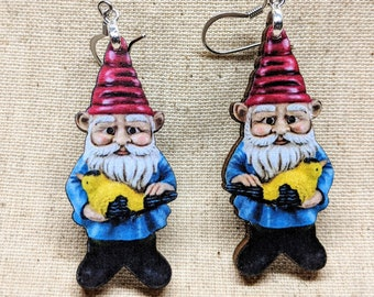 Garden Gnome Earrings / Laser Cut Wood Earrings / Handmade Jewelry / Gnome Jewelry / Lawn Gnome / Hypoallergenic / Nickel Free