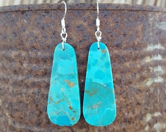 Santo Dominigo Turquoise and Sterling Silver Earrings, Long Teardrop Turquoise Slab Earrings, Santo Domingo Earrings, Long Turquoise Drops
