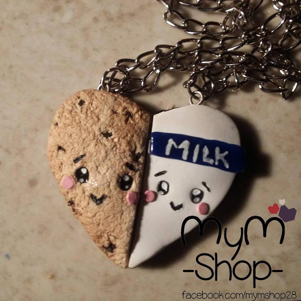 corazón pareja collares galleta y leche kawaii amor amistad