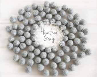 Wool Felt Balls - Size, Approx. 2CM - (18 - 20mm) - 25 Felt Balls Pack - Color Heather Gray-9020 - 2CM Heather Grey Color Felt Balls - Poms