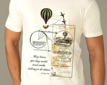 travel shirt - photographer shirt - travel gifts - mens tshirts - hiking shirt - steampunk clothing -vacation tshirt-EVERY HORIZON-crew neck