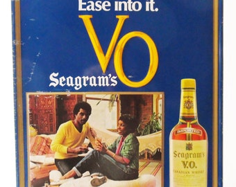 1970's Seagrams VO  Whiskey Sign, The V.O. Mood Ease into it,  Vintage Tin Sign Ad Liquor Store  Bar Man Cave