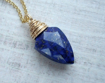 Gold Lapis Lazuli necklace - Lapis necklace - Dark blue pendant - Mothers Day gift for her - Lapis jewelry - Gold necklace - Gift for women