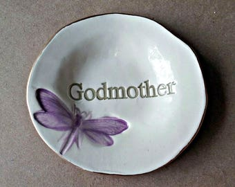 Ceramic Ring Holder Ring Bowl Ring Dish Trinket Dish edged in gold Godmother Mothers day
