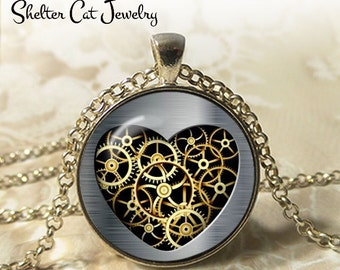 "Steampunk Mechanical Gold Heart Necklace - 1-1/4"" Circle Pendant or Key Ring - Handmade Wearable Art Photo - Gears, Science, Nature, Gift"