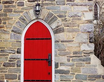 Door Photography- Red Door Photo, Church Door Photo, Washington DC, Travel Photography, Architechture, St Albans, Red Decor, Color Pop Art