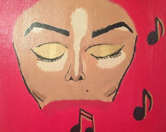"Original Acrylic Painting Janet Jackson ""Can't Stop The Music"" On Canvas Signed by Artist"