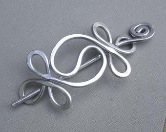 Yin Yang Aluminum Shawl Pin, Yinyang Hair Pin, Scarf Pin, Barrette, Hair Slide, Knitter, Hair Accessories, Women, Gift for Her Sweater Clip