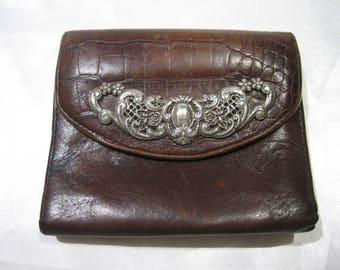 Vintage Brighton Faux Croc Ornate Art Nouveau Silver Tone Accent Wallet