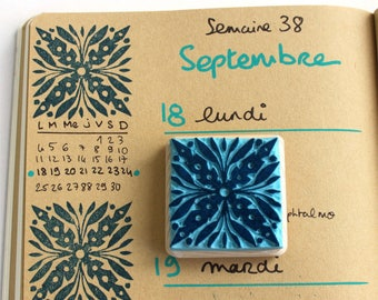 Bullet Journal decorative stamp, floor tiles design, bujo, hand carved, wood mounted