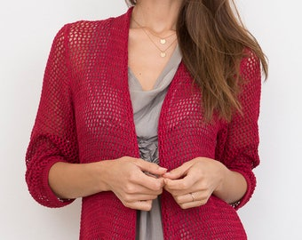 Bamboo Knit Cover-Up: Red