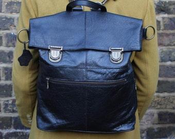 Belgian Clip Rucksack And Cross-body Bag Black Leather