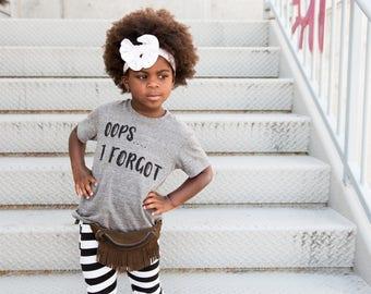 oops I forgot gray tee kids shirt empowerment tee boys and girls shirt hipster kids clothing trendy kids clothes boys graphic tee girls tee