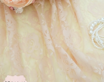 Cream Lace Fabric Cream Roses Lace For Handmade Floral Lace Wedding Cream Lace Bridesmaid Lace Cream Lace For Making Dress