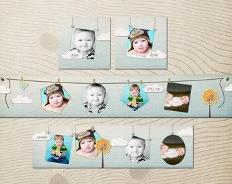 Clothes Line 3x3 mini Accordion Album Template for Photographers