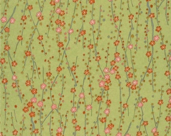 Chiyogami or yuzen paper - spring green plum blossoms, 9x12 inches