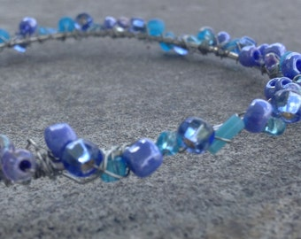 Wire Wrapped Bangle with Blue Beads