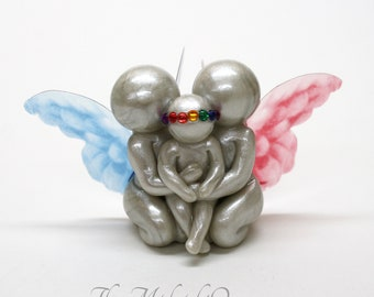Rainbow Baby Gift With Angel Siblings - Twin Loss or Multiple Loss - you customize wing color and choose angel or butterfly wings