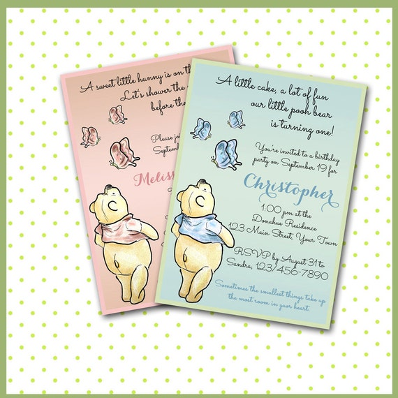 Winnie The Pooh Templates For Baby Shower: Winnie The Pooh Invitations / Baby Shower Sip & See Boy Or