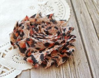 "Speckled Blush Leopard Shabby Rose Trim 2.5"" Shabby Chiffon Flowers - Printed Shabby Chic Trim Wholesale Rosette trim 6cm"