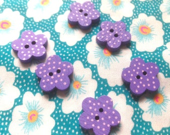 Buttons wooden flowers (x 6) - 2 holes for sewing Scrapbooking creative 1.5 cm