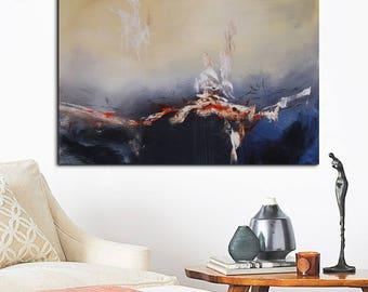 Dark Blue abstract original Painting, Blue abstract painting, navy blue painting, gray abstract landscape painting, original painting