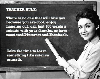 """FUNNY TEACHER VINTAGE Back to School card: """"No one will hire you"""" sarcastic, just because, friendship card [814-227]"""