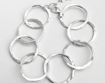 Chunky Silver Link Bracelet - Big Silver Bracelet - Unique Bracelet - Chain Bracelet - Big Circle Bracelet - Sterling Silver Jewelry
