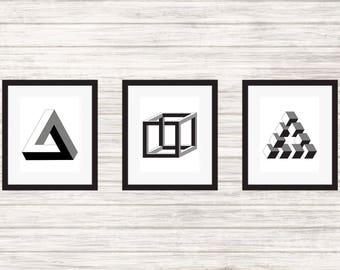 Penrose Triangle, Necker Cube & Reutersvard's Triangle - 3 Impossible Geometries - Wall Art, Print, Poster, Printable PDF+JPG
