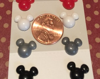 Set of 4 Mickey & Minnie Mouse earrings on nickel free posts. (penny to show size)