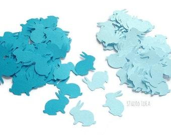 120 Mixed Blue Rabbit Cut-outs, Confetti - Set of 120 pcs