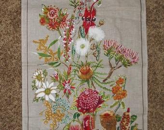 Linen / Cotton Kitchen Towel - Perth Australia - Australain Wildflowers Linen Towel - Kitchen Towel