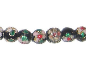 8mm Black Round Cloisonne Bead, 7 beads