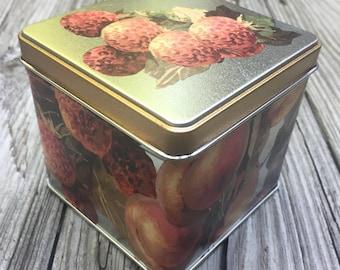 ON SALE Candy Tin Fruit Motif Cookie Tin Storage Pot Pourri Tin