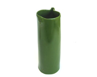 hand built porcelain vase  ...   tall ceramic vessel  ...   green mid century modern organic form