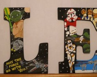 Wooden Hand Painted 'Star Wars'Letters Name art