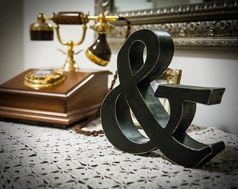 Ampersand, free standing wooden letter, shelf decoration