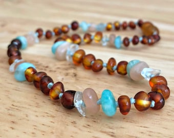 Amber Teething Necklace, amber necklace, baby teething necklace, real amber baby necklace, girl amber, moonstone necklace, baby girl gift