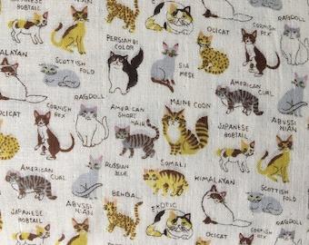 Kokka fabric.Cotton.Double gauze.PA-43100-100A. Cats fabric.Choose your cut.