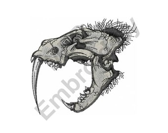 Saber Tooth Tiger Skull - Machine Embroidery Design