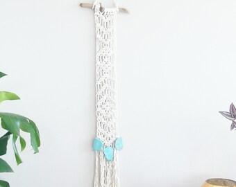 Macrame Curtain- Wall Accent- Bohemian Decor- Modern Macrame- Wall Accent- Boho Home Decor-Wedding Gift- Turquoise- BohoChic- Gypsy Mermaid