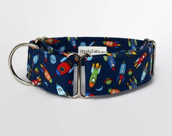 Rockets into Space Adjustable Dog Collar - Martingale Collar or Side Release Buckle Collar  - Colorful space ships on navy -