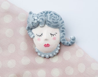 Girl and Cat. Doll Brooch exclusive, Cat Hair Brooch, Cat on Head of Doll Girl, Creative Paperclay, Handmade, approximately 45 x 45 mm